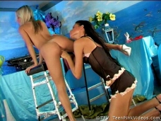 Hot teen lesbians fucking each other with their dildovideo